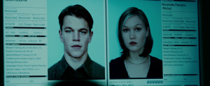 "Digital files of Jason Bourne in Nicky Parsons in ""The Bourne Ultimatum"""
